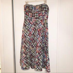 J. Crew Plaid Dress Size 6, midi, strapless